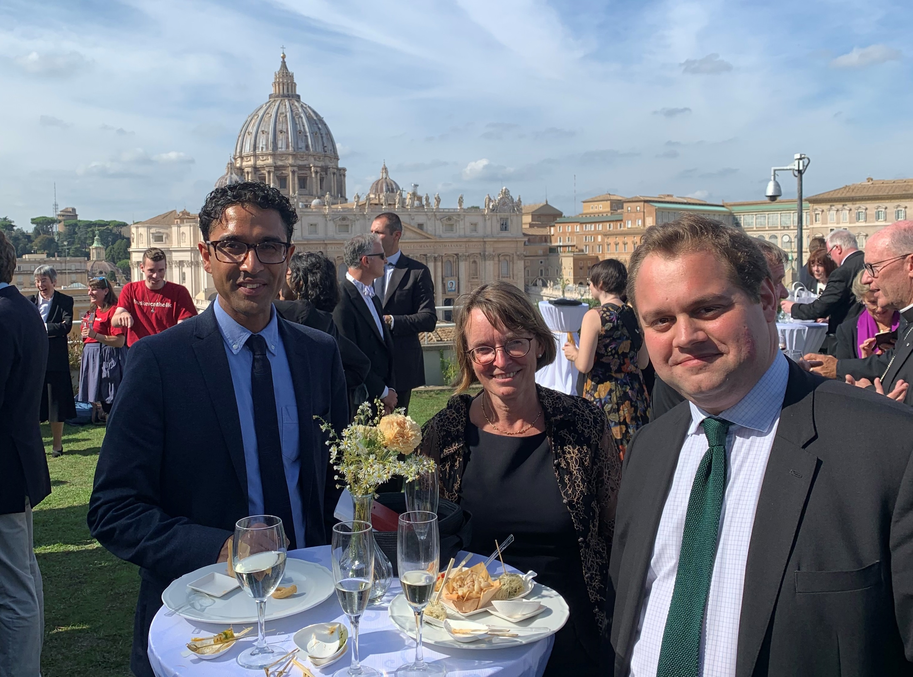 Trinity College Philosophy Fellow Anil Gomes, President Hilary Boulding, and Junior Research Fellow Tristan Franklinos at the canonisation ceremony in Rome for Cardinal Newman.