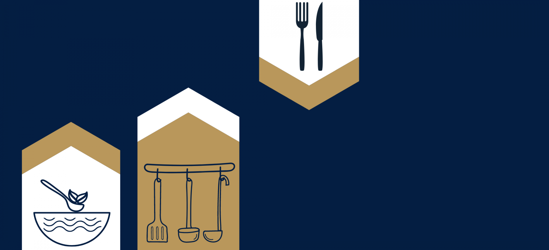 A graphic in dark blue with outlines of a cooking pot and a chopping board with knife and vegetables.