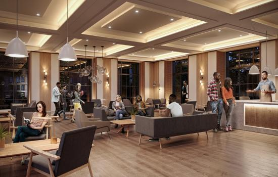 an architect's rendering of the new Levine Building community area and cafe.