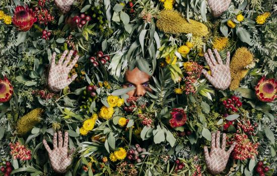 Christian Thompson's rule of three photographic work showing the artist's face and six hands emerging out of a pile of floral arrangments.