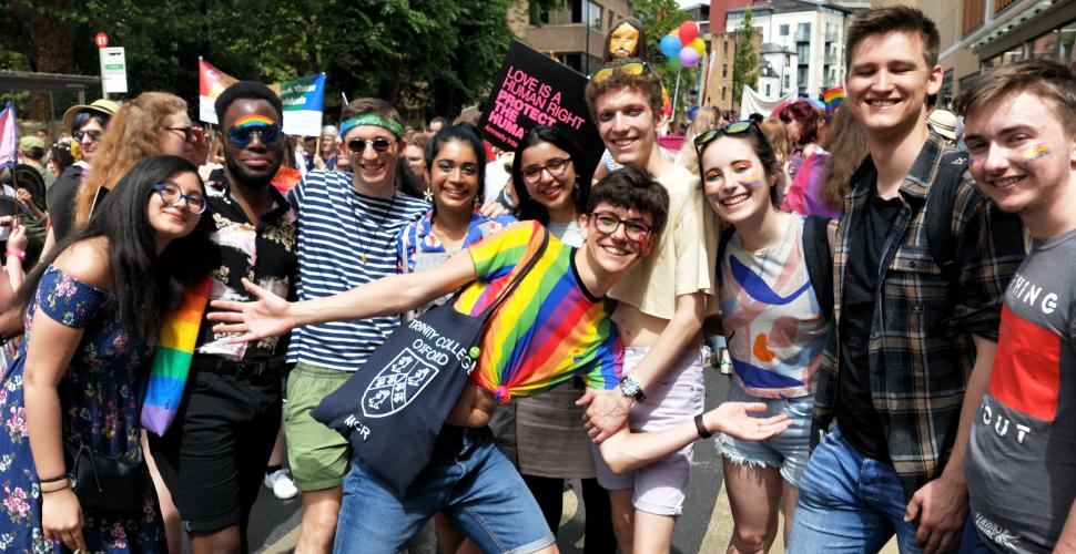 A group of Trinity College postgraduates pose for the camera at Oxford Pride week.