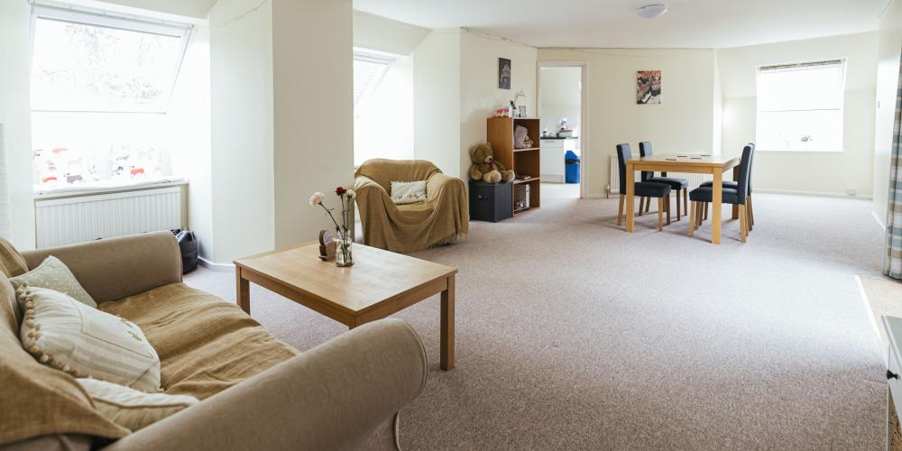A large common room in shared accommodation.