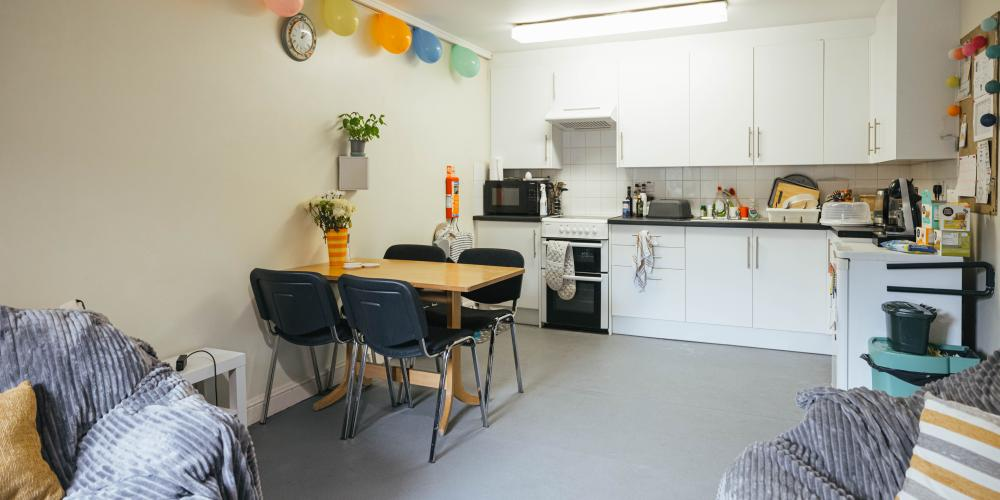 A shared kitchen in offsite accommodation.