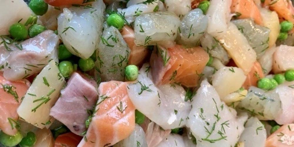 A mixture of raw fish and dill.