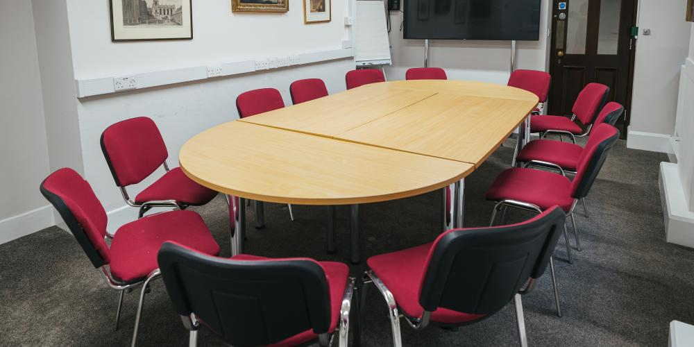 The Fletcher room with fixed boardroom seating.