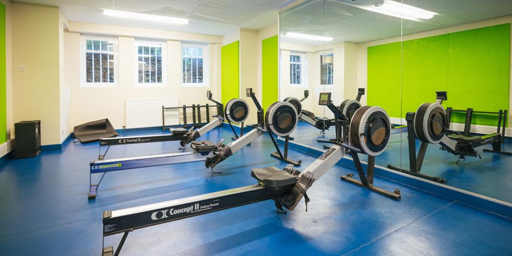The rowing machine area in the basement of the Nunnery.