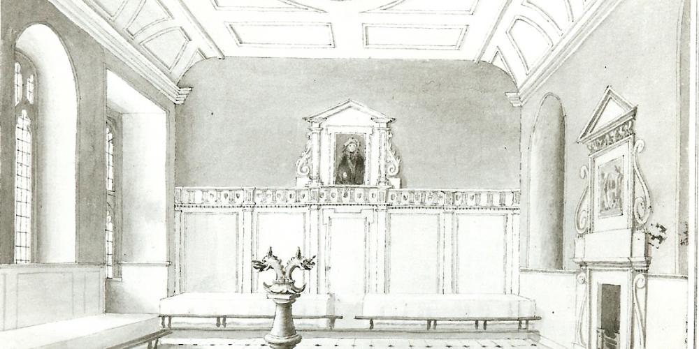 An interior of Trinity's dining hall as painted in 1801.